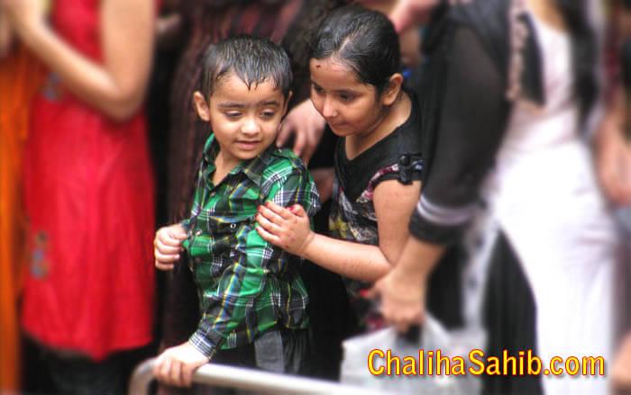 Kids visiting Chaliha Sahib Mandir